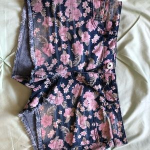 Floral printed jean shorts